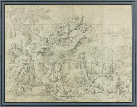 Louis XIV à la tête de son armée, guidé par Mars et Minerve