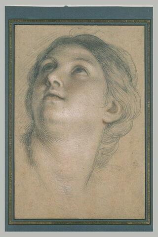 Tête de femme, tournée vers la gauche, regardant au ciel