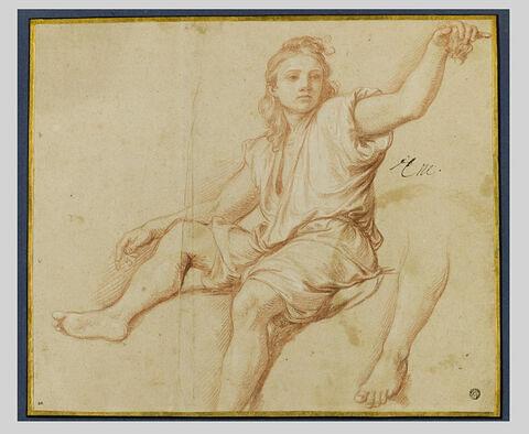 Jeune garçon assis ; étude d'une jambe