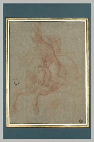 Homme nu, casqué, à cheval