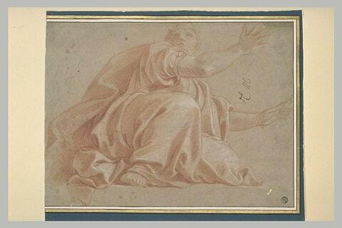 Femme drapée, assise, les deux bras tendus en avant