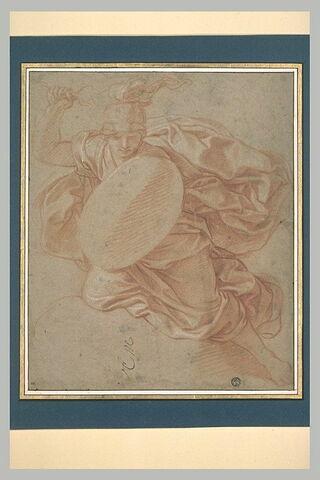 Femme casquée et drapée, volant dans les airs