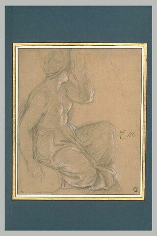 Femme demi nue, assise, un genou à terre