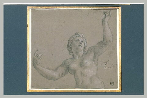 Femme nue, à mi-corps, les deux bras levés