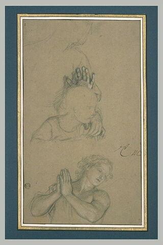Femme avec un enfant. Ange les mains jointes