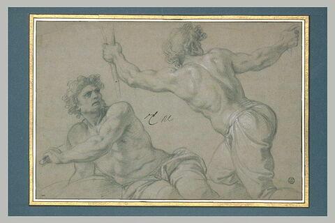 Deux hommes demi-nus, à mi-jambes