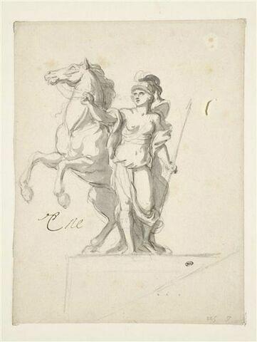 Femme casquée et armée tenant un cheval par la bride