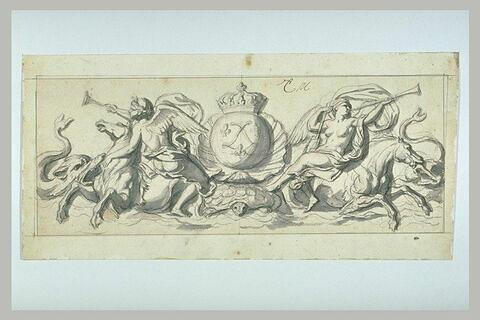 Frise marine aux armes de Louis XIV