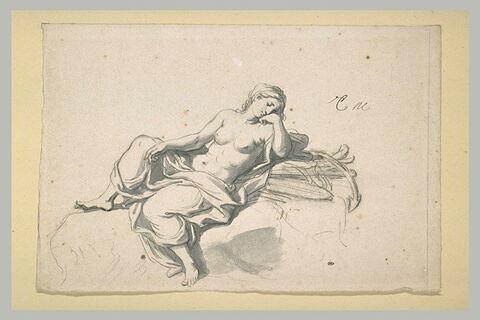 Femme demi nue, accoudée sur un amas de rames et d'ancre