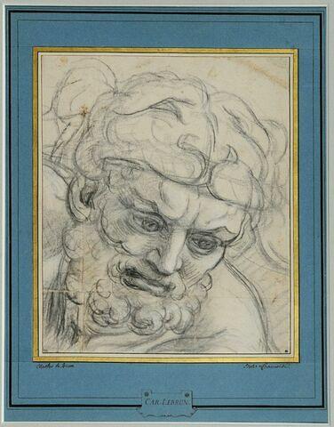 Tête d'Hercule penchée en avant, le regard fixé en bas