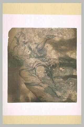 Femme drapée et couronnée, un lion près d'elle