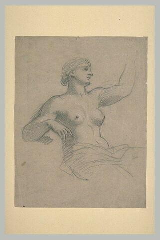 Femme demi-nue, assise, vue à mi-jambes