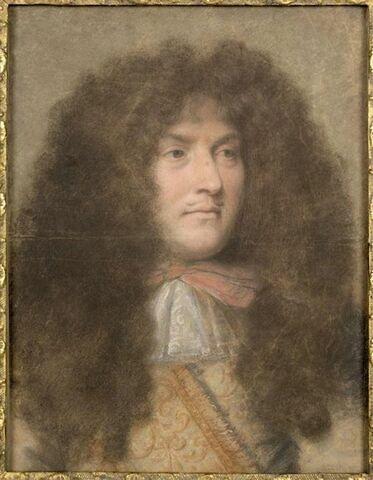 Etude d'après le visage de Louis XIV de trois quarts tourné vers la droite.