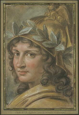 Alexandre, tête d'étude pour le triomphe d'Alexandre casquée et laurée