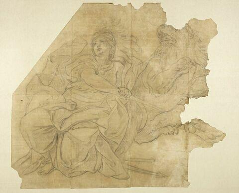 Femme drapée et casquée tenant un glaive, un lion près d'elle