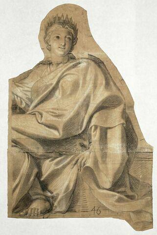 Femme assise, drapée et couronnée