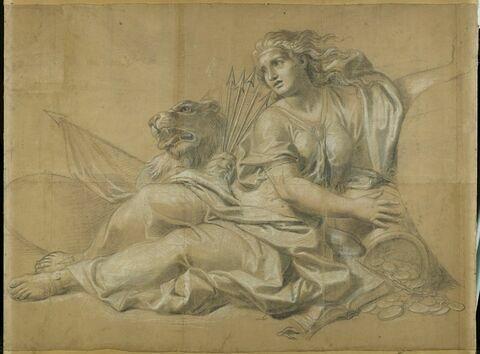 Femme drapée assise, ayant près d'elle un lion