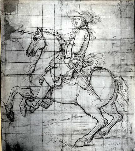 Louis XIV à cheval, tourné vers la gauche