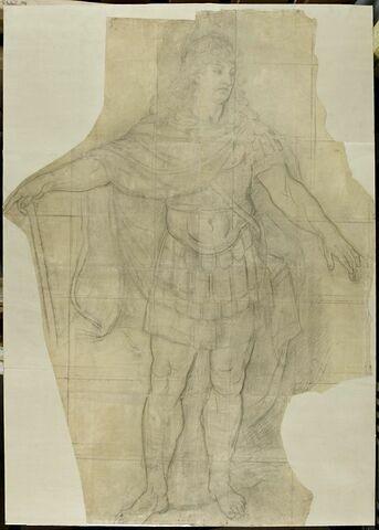 Louis XIV debout en empereur romain, la tête nue, tournée à droite