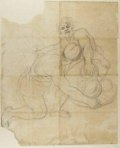 Deux hommes demi-nus, portant des armes et deux figures