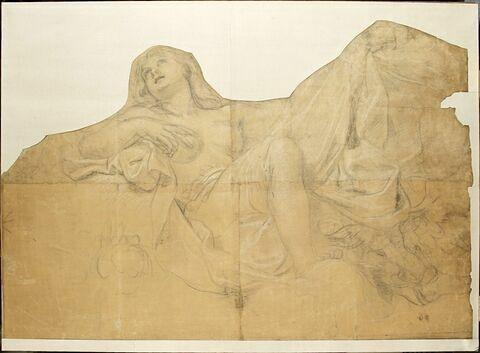 Femme demi-nue assise, la main droite sur la poitrine