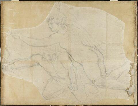 Femme nue ailée et génie volant vers la gauche