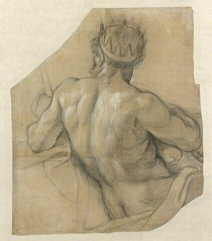 Homme nu, de dos, couronné