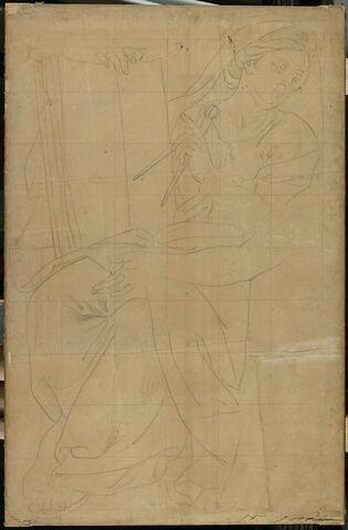 Figure assise, drapée, tenant un livre et un compas