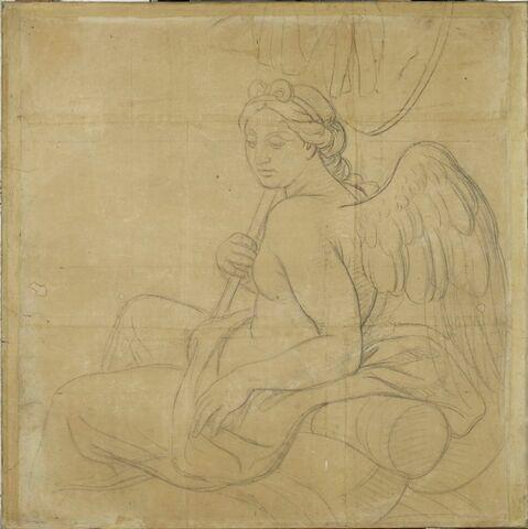 Femme ailée, assise, de profil