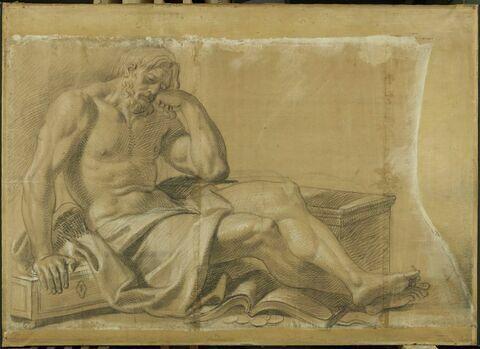 Homme endormi, appuyé sur deux coffres