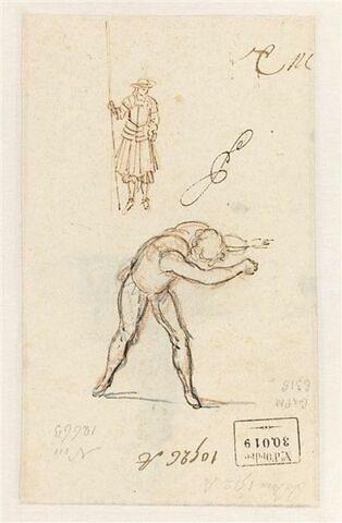 """Une figure de garde et d'autres relatives aux estampes illustrant la scène 3 de """"La Noce de Village"""" (1666) de Brécourt"""