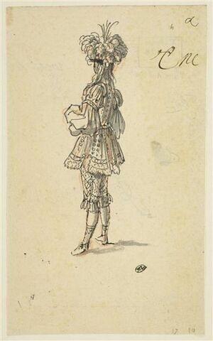 Une figure en habit pour le bal masqué de la Grande Antichambre du roi au Louvre vraisemblablement donné par la reine le 17 février 1665 à l'occasion du mardi gras