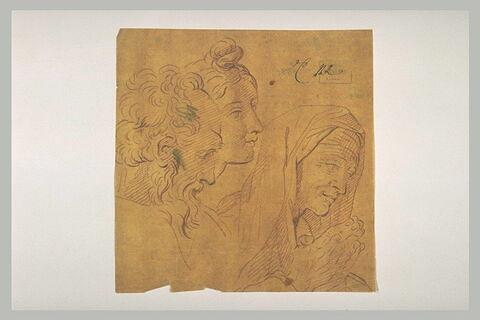 Groupe de trois têtes : un vieillard, une jeune femme et une vieille femme