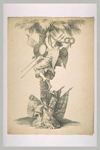 Victoire accrochant des couronnes à un palmier