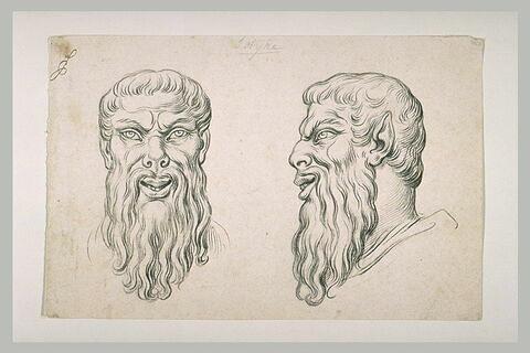 Deux têtes de satyre, l'une de face et l'autre de profil