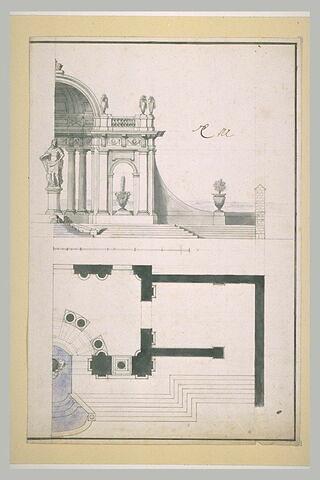 Pavillon avec statue royale et jets d'eau
