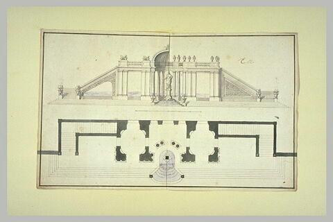Plan et élévation d'un pavillon avec statue royale, dans un jardin