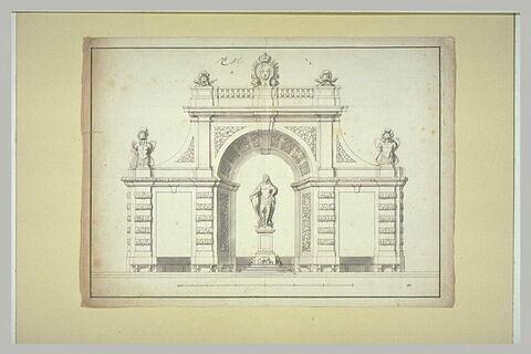 Elévation d'un pavillon avec statue royale, dans un jardin