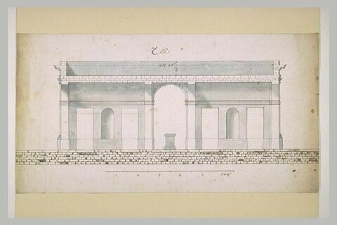 Coupe d'un pavillon avec arcade centrale