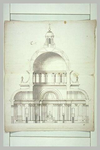 Coupe d'une chapelle, avec coupole (milieu de l'aile nord)