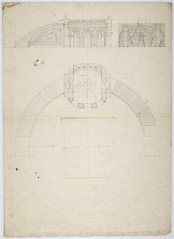 Plan, élévation et coupe d'une grotte avec fontaines