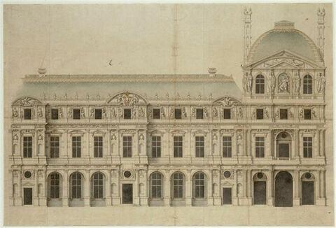 Elévation de l'aile et du pavillon de l'Horloge au Louvre