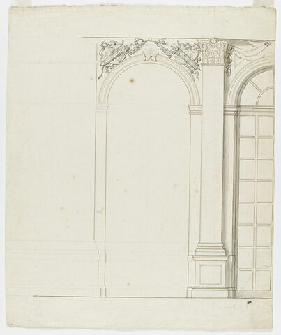 Projet de décor de la Grande Galerie, côté fenêtres
