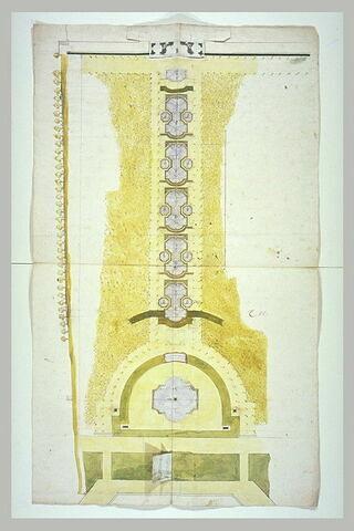 Plan et profil d'une cascade dans un jardin