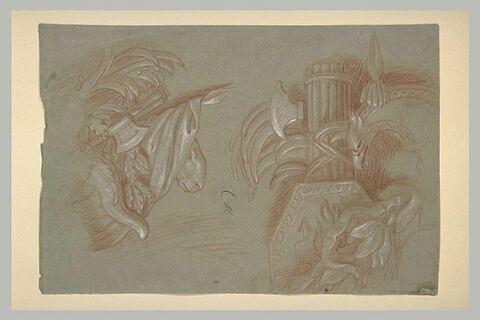Décor d'armes, étendard, feuilles et tête de bélier
