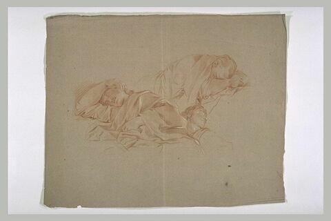 Trois hommes drapés, endormis
