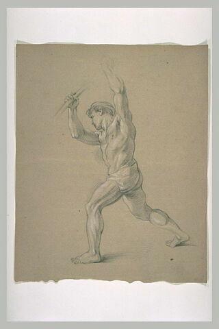 Homme demi-nu, avançant vers la gauche, les deux bras levés
