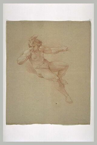 Femme nue, soufflant dans une trompette