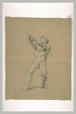Homme nu, tirant sur une corde
