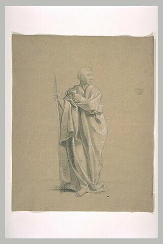 Homme debout, drapé, tenant un bâton